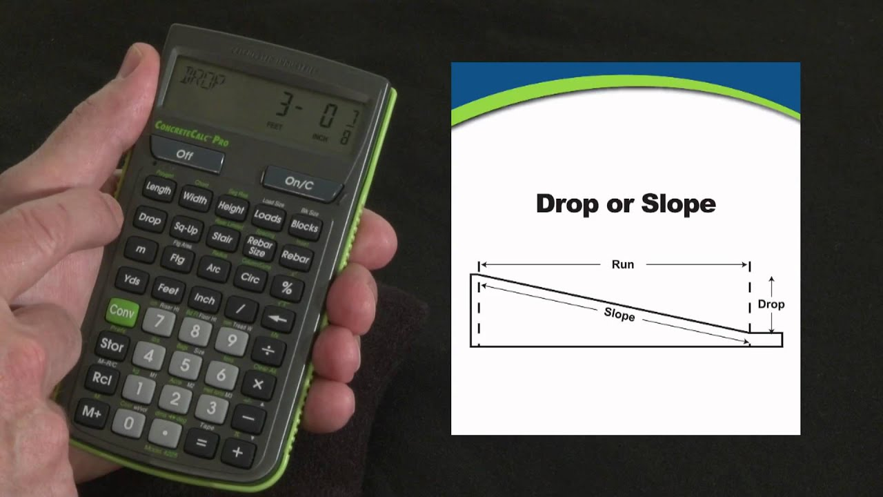 Concretecalc Pro Drop Or Slope Calculations How To