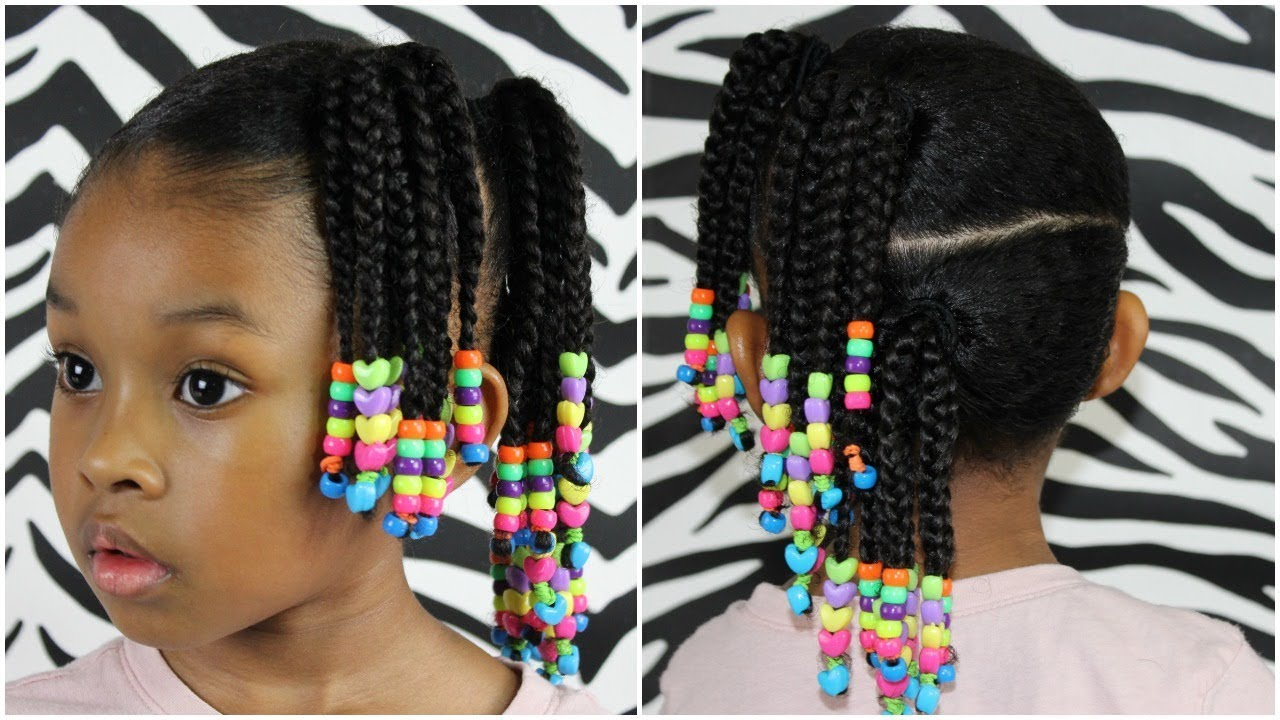 Side Ponytails W Beads Cute Easy Hairstyle For Little
