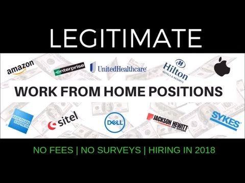 10 legitimate work from home positions 2018