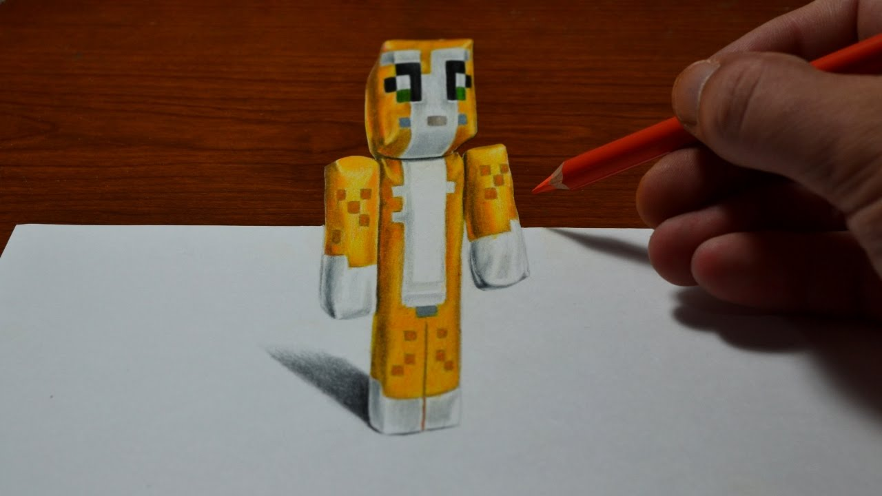 Drawing minecraft stampy cat doll cool 3d trick art youtube altavistaventures Image collections