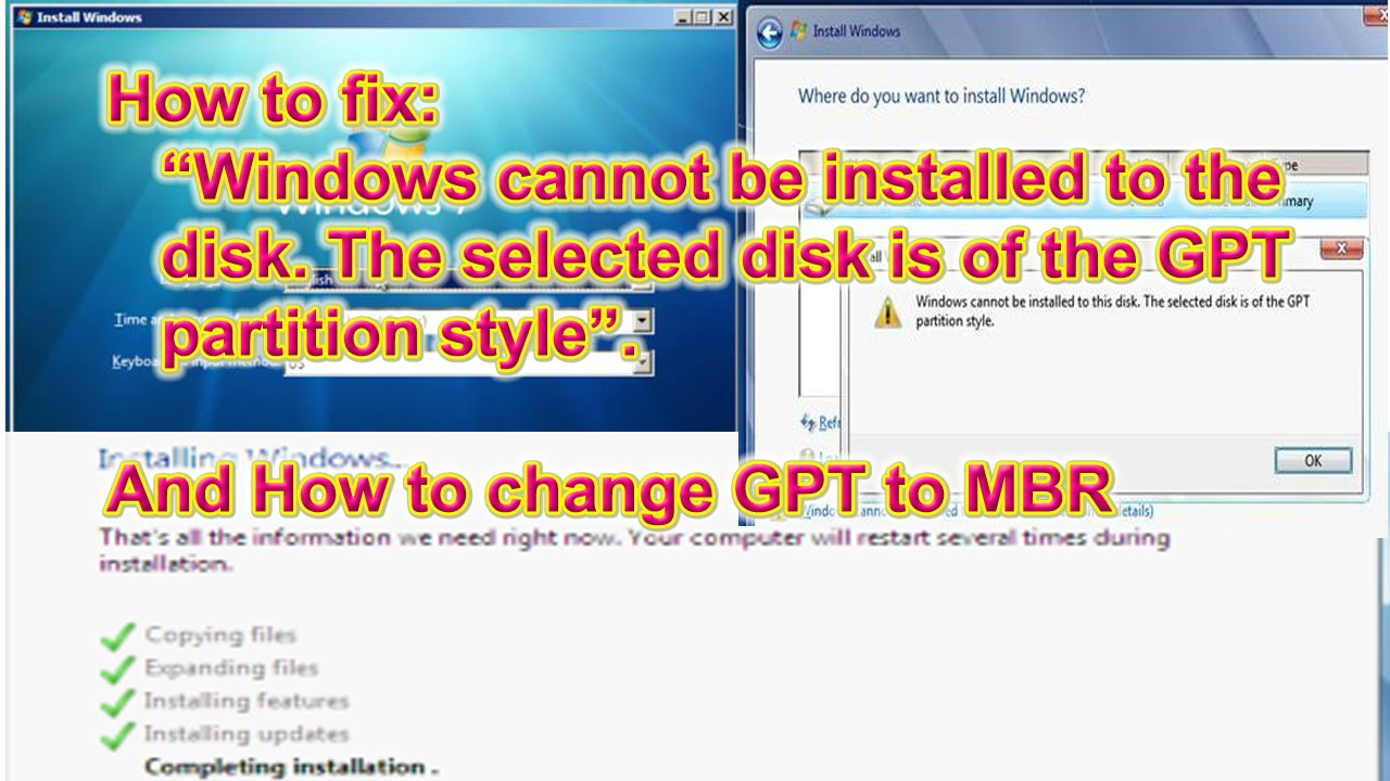 Windows cannot be installed to this disk  The selected disk is of the GPT  partition style