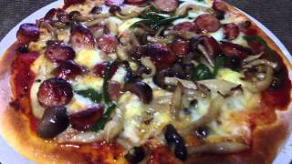Sausage, Green Pepper And Mushroom Pizza