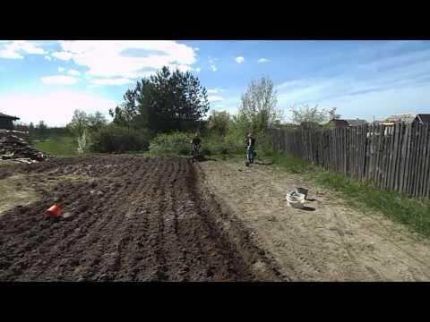 Пахота на мотоблоке Беларус МТЗ 09H + посадка картошки под.