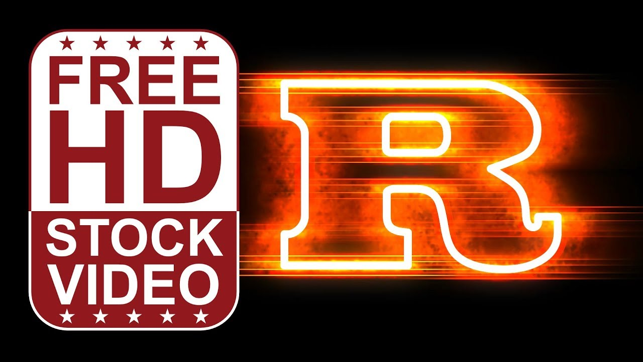 Free Stock Videos – animated letter R with fire and glow ...