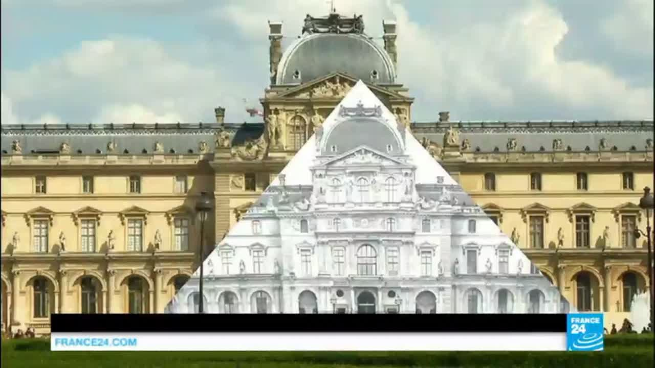Disappearing act: French street artist 'JR' transforms Louvre pyramid