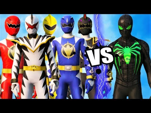 POWER RANGERS (DINO THUNDER) Vs GREEN SPIDER-MAN (Anti Ock Suit)