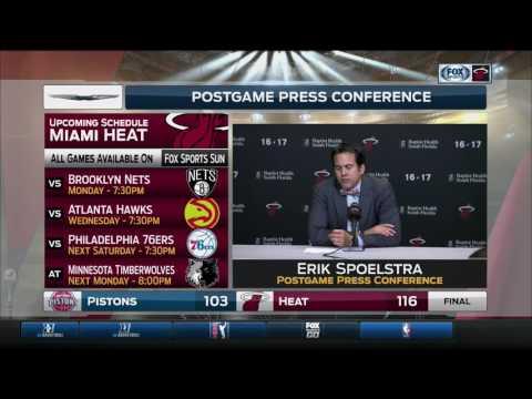 Erik Spoelstra -- Miami Heat vs. Detroit Pistons 01/28/2017
