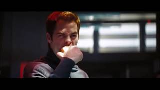 Kirk Eats Apple During and While Describing the Kobayashi Maru Test