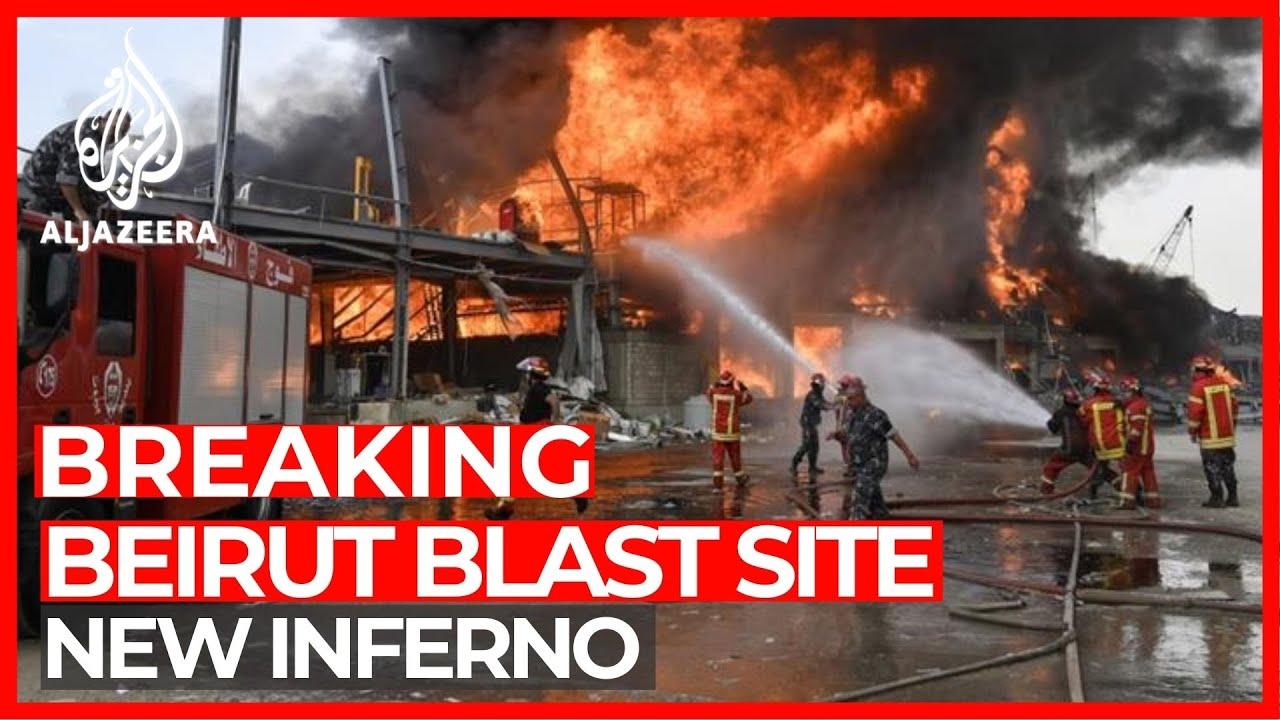 Panic amid towering inferno at Beirut's port - Al Jazeera English