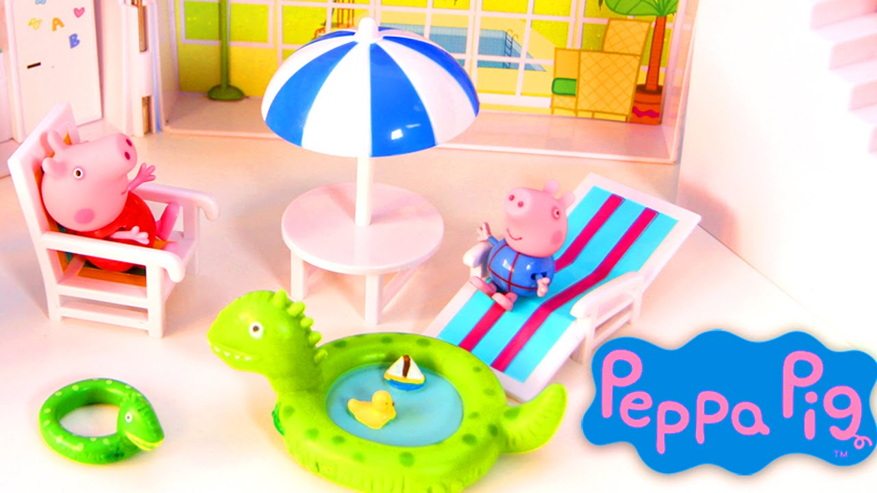 Peppa Pig S Summer House With Swimming Pool Youtube