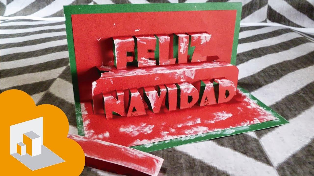 tarjeta pop up feliz navidad youtube - Tarjeta De Navidad En 3d