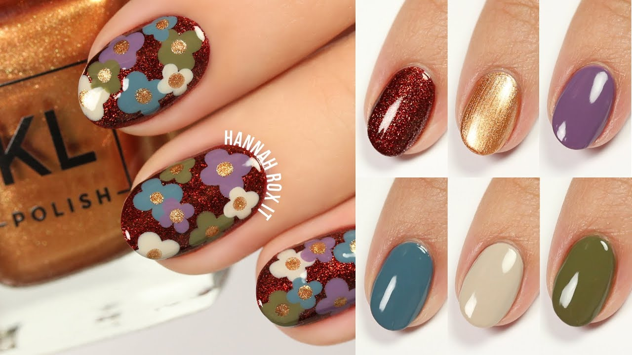 Retro Floral Nails + KL Polish 70\'s Vibe Live Swatches! - YouTube