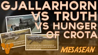 Gjallarhorn Vs. Truth Vs. Hunger of Crota. Exotic/Legendary Rocket Launchers. Destiny.