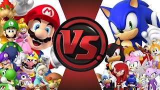 MARIO vs SONIC! TOTAL WAR!! Cartoon Fight Club Episode 18