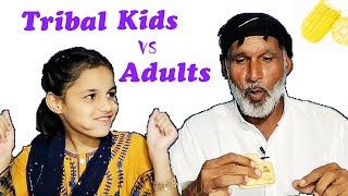 Tribal Kids vs Adults Eating Challenge   Food vs Kids