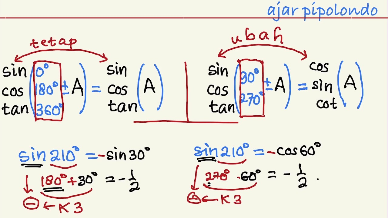 Cara Mudah Menghitung Sin Cos Tan Fungsi Trigonometri Untuk Sudut Besar Matematika Kelas 10 Youtube