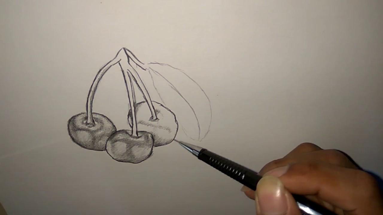 Cara menggambar buah ceri full arsir.  PART 1 #1