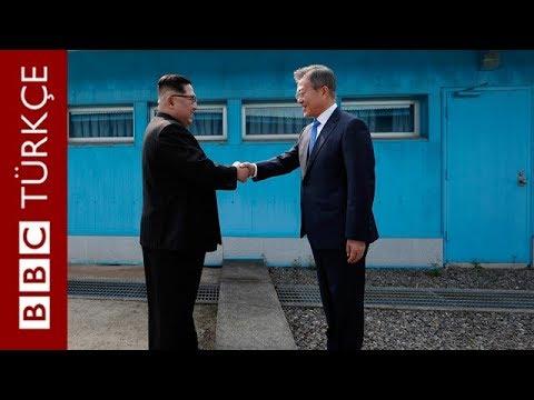 Kuzey Kore ve Güney Kore liderlerinin el sıkışma anı
