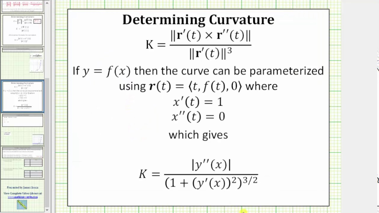 Curvature and Radius of Curvature for a function of x