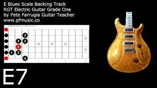 guitar backing track e blues scale - grade one
