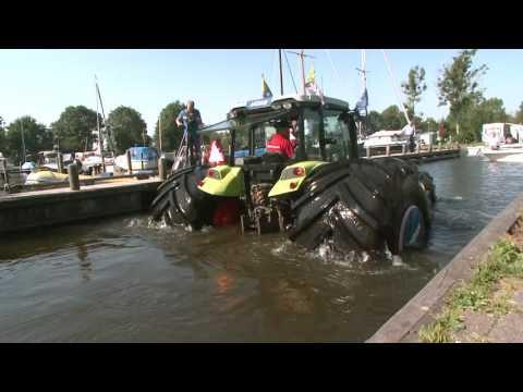 Mitas tyres helped 4-tones tractor float like a boat in deep water.
