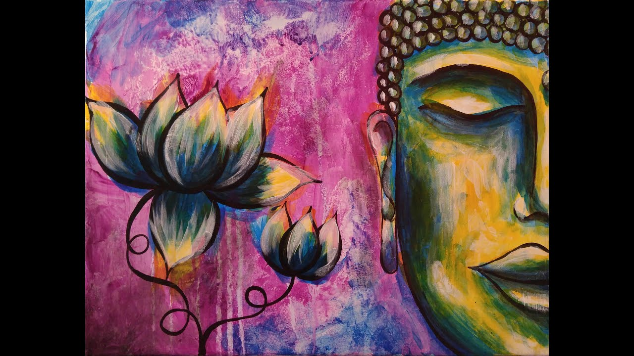 How to paint buddha step by step acrylic painting on for How to make canvas painting