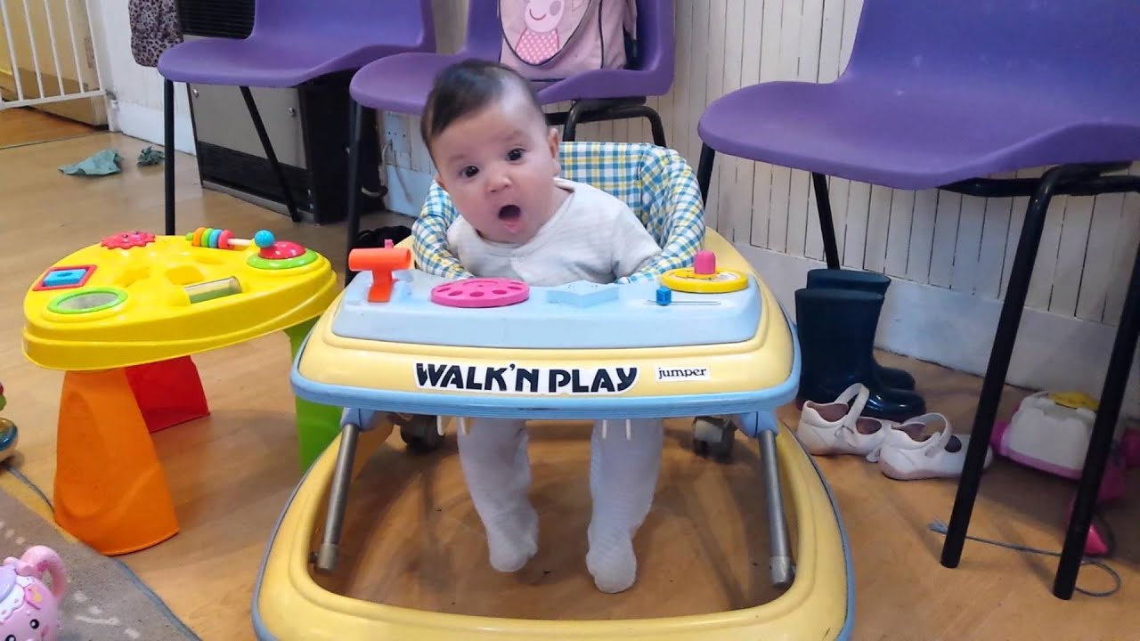 947a6530b 3 month old baby first time baby walker - YouTube