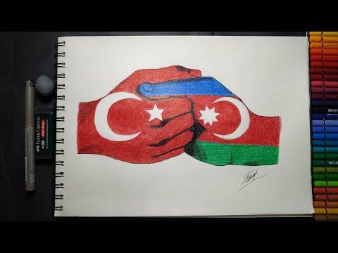 Türkiye ve Azerbaycan, çizimi 🇹🇷🇦🇿/çizen kız