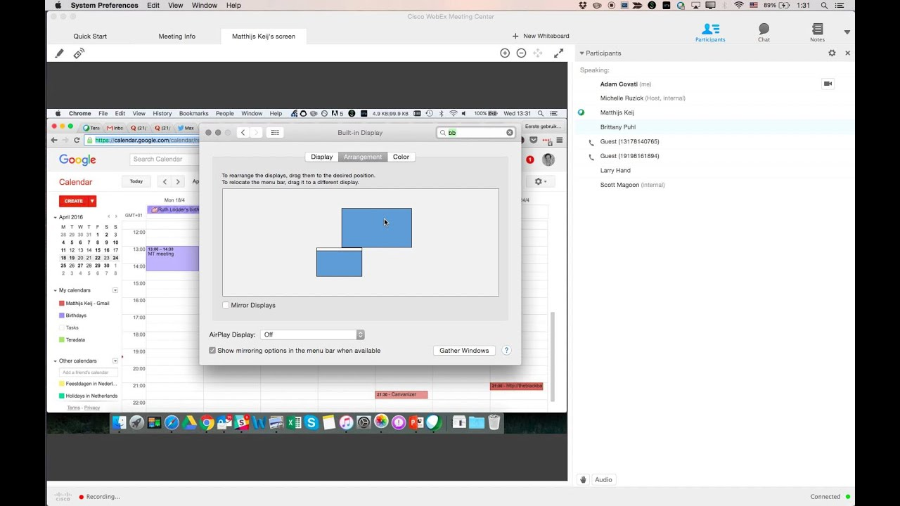 How to change the shared webex screen on OS X