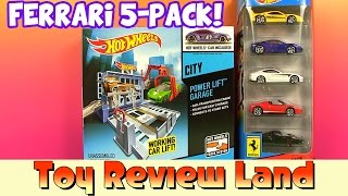 Hotwheels Cars Lift Garage And A Ferrari 5 Pack Box Opening