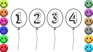 Draw Ballon Step by Step with Number for Kids, Learn Coloring with Balloon Drawing