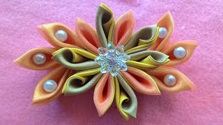 Diy _ How To Make Kanzashi Flowers With Beads From Satin Ribbon