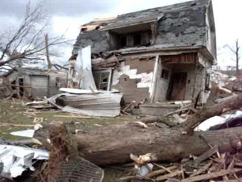 Tornado damage in Mena, Arkansas.