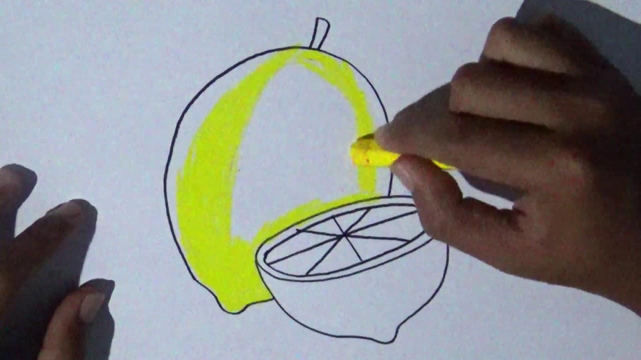 Cara Menggambar Dan Mewarnai Buah Lemon How To Draw And Color Lemons Youtube