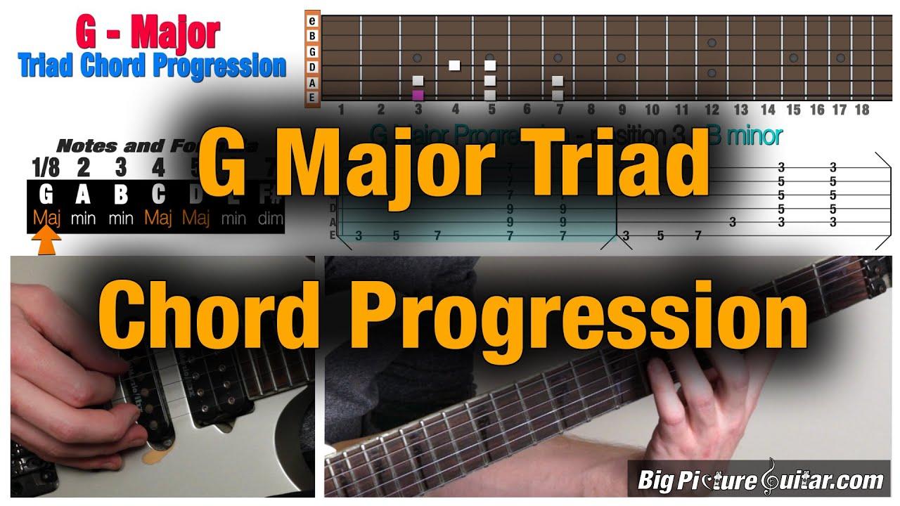 Guitar Lesson G Major Chord Progression Triad W Animation Tab