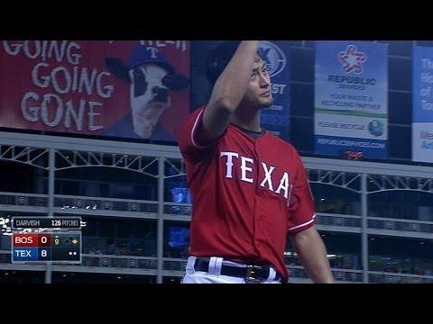 BOS@TEX: Darvish take no-hitter into the 9th inning