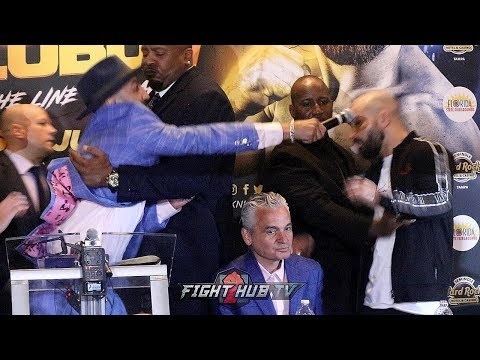 PAULIE MALIGNAGGI ALMOST HITS ARTEM LOBOV WITH A MICROPHONE AS CHAOS BREAKS OUT AT PRESS CONFERENCE