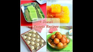 Diwali Sweets Recipe - 4 Easy Indian Sweets For Diwali - Ladoo, Burfi, halwa, Gulab jamun
