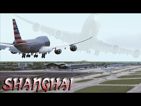 FSX [HD] - FICTIONAL American Airlines | Boeing 747-8i | Approach to Shanghai