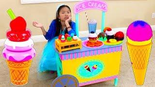 温迪玩在她的玩具车商店里卖木制冰淇淋的游戏