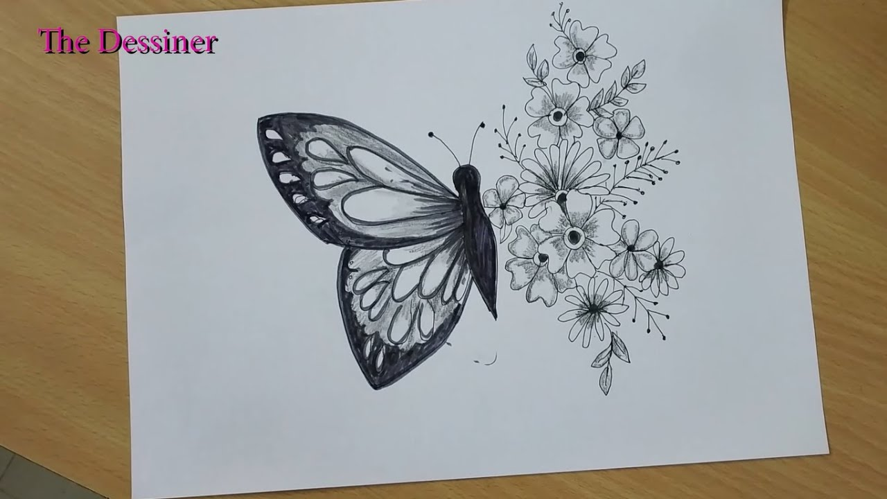 How to draw beautiful half butterfly and half flower art/ pencil ...
