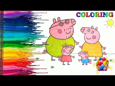 PEPPA PIG Coloring Book Pages Kids Fun Art Activities Videos For Children Learning Rainbow Colors