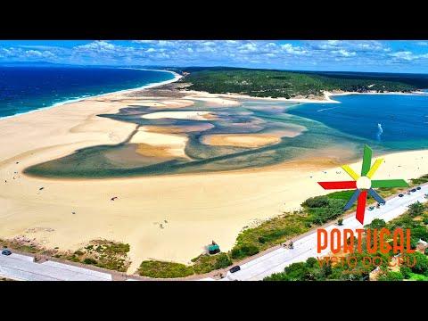 Lagoa de Albufeira - Albufeira lagoon aerial - Sesimbra - 4K Ultra HD