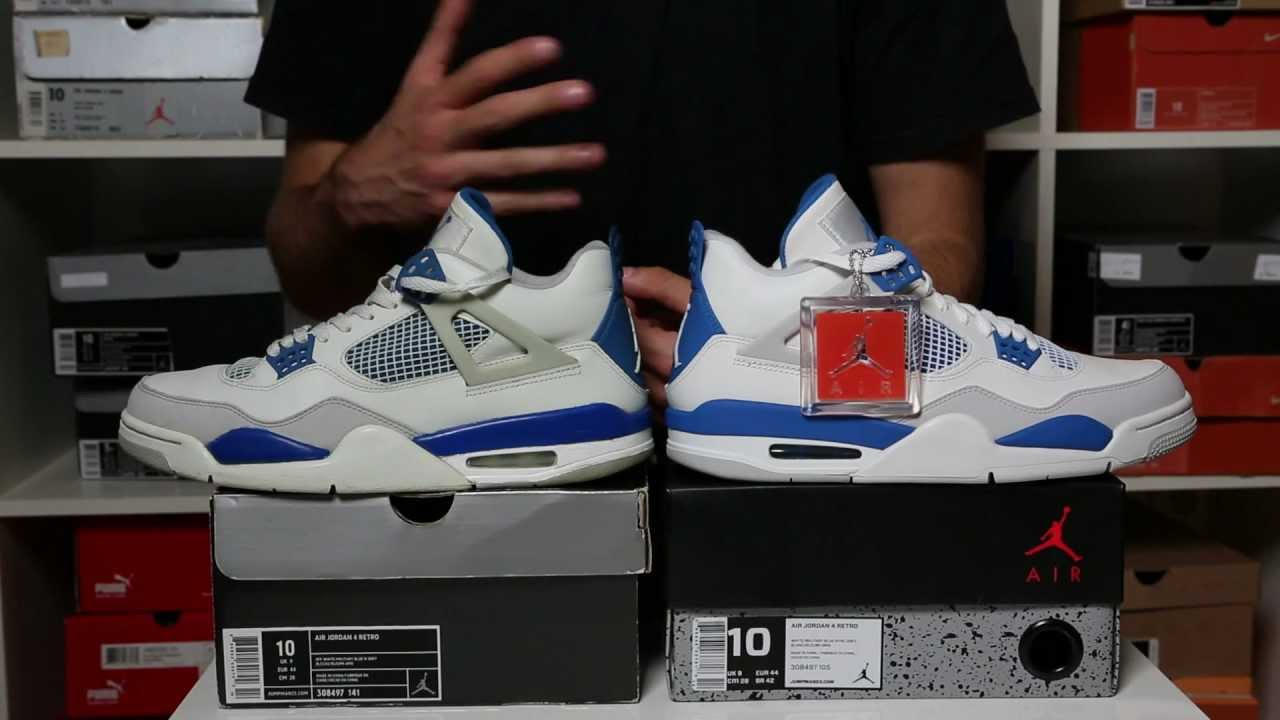 AIR JORDAN IV RETRO  MILITARY BLUE  2006 VS 2012 - YouTube 955756de4