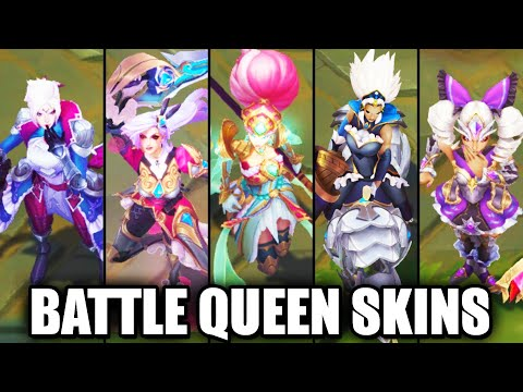 All New 2020 Battle Queen Skins Spotlight Katarina Rell Diana Qiyana Janna (League of Legends)