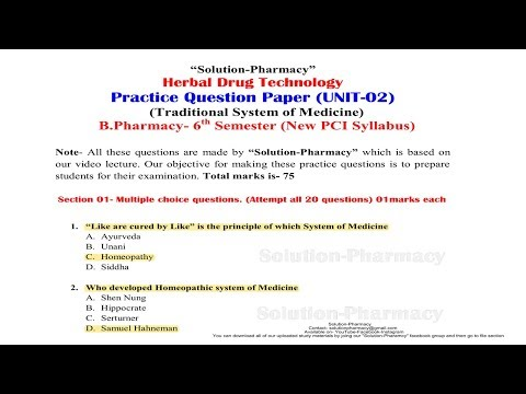 Herbal Drug Technology Model Question and Answer Paper- Unit 2 (B Pharmacy 6th Semester)