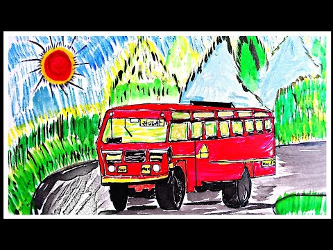 Bus sketch painting drawing Art simple steps for beginner. MSRTC bus drawing nature scenery painting