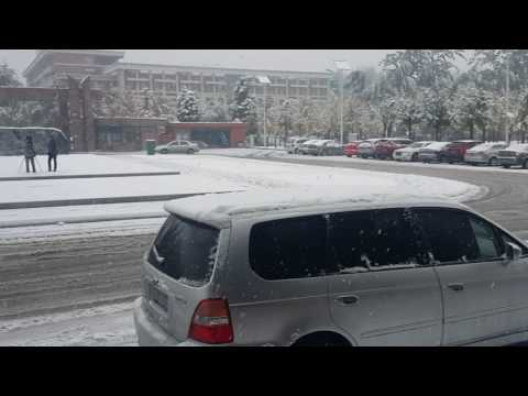 Awesome Snow Scene at NCEPU Beijing China 2015 October Big Snow Flakes Entrance Gate of NCEPU