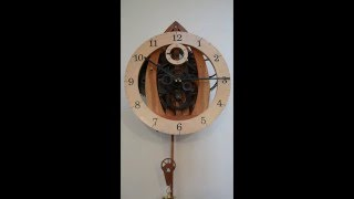 Handmade Wooden Mechanical Wall Clock. 8 Day Movement