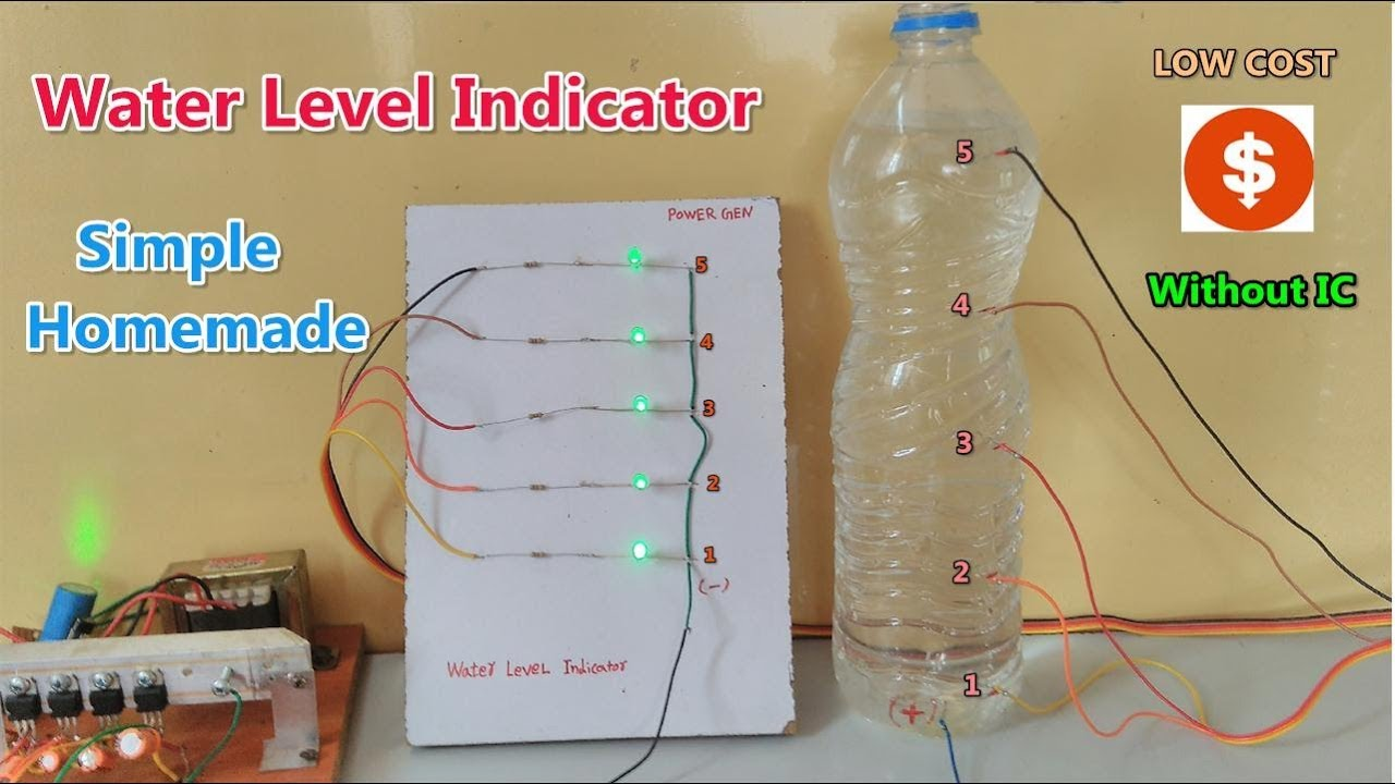 without ic sensor simple water level indicator made at home [ 1280 x 720 Pixel ]